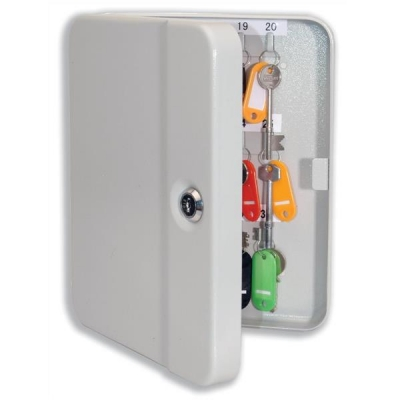 Key Cabinet Steel with Lock 30 Colour Tags 30 Numbered Hooks Grey
