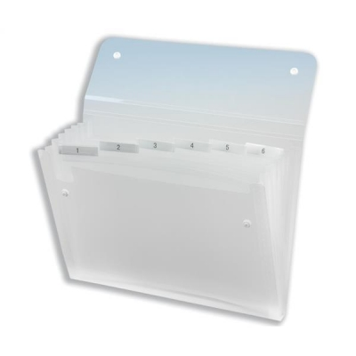 Rexel Ice Expanding Files Durable Polypropylene 6 Pocket A4 Clear Ref 2102033