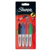 Sharpie Mini Permanent Marker Portable Fine Assorted Black Blue Red Green Ref S0811250 [Wallet 4]