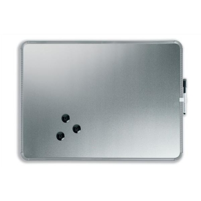 Nobo SlimLine Drywipe Board Magnetic with Pen and Built-in Eraser 430x14x580mm Silver Ref QB05742C