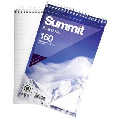 Summit Notebook Wirebound Headbound Ruled 60gsm 160pp 125x200mm Ref 100080235 [Pack 10]