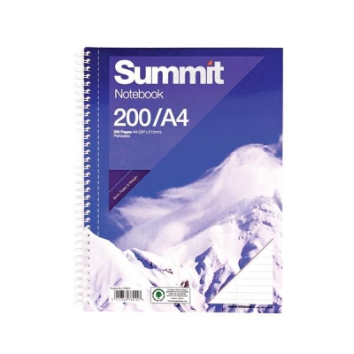 Summit Notebook Double Wirebound Punched Perforated Ruled Margin 60gsm 200pp A4 Ref 100080433 [Pack 3]