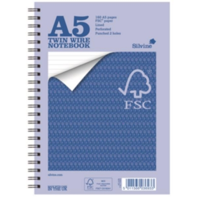 Silvine Notebook Wirebound FSC Paper Feint Ruled 160pp A5 Ref FSCTWA5 [Pack 5]