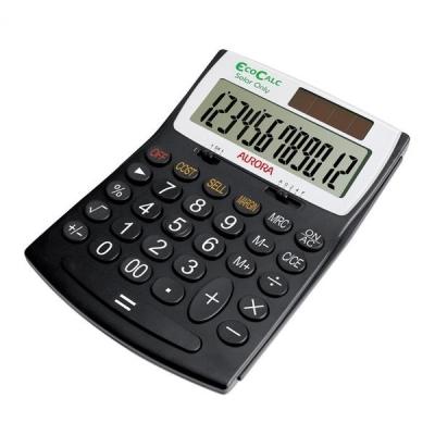 Aurora EcoCalc Calculator Desktop Large Recycled Solar and Battery Power 12 Digit 3 Key Memory Ref EC707