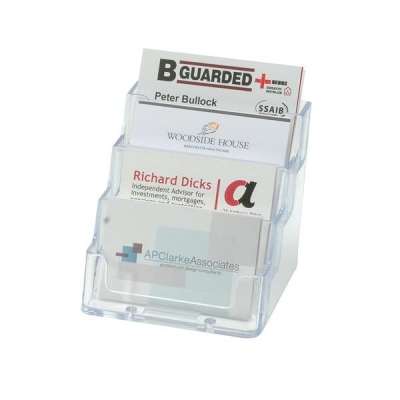 Business Card Holder Tiered Desktop 4 Pockets Clear
