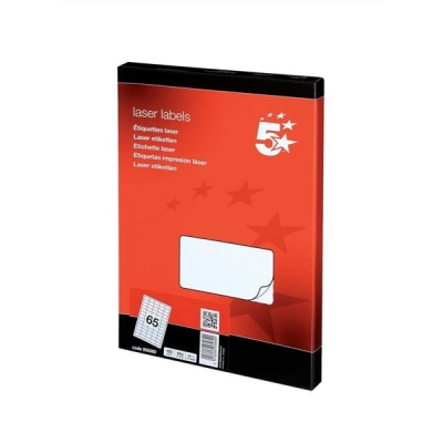 5 Star Multipurpose Labels Laser 65 per Sheet 38.1x21.2mm White [6500 Labels]
