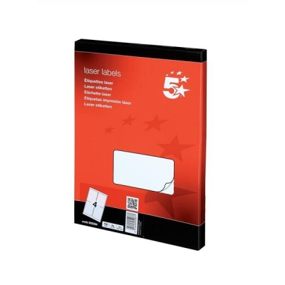 5 Star Multipurpose Labels Laser 4 per Sheet 139x99.1mm White [400 Labels]