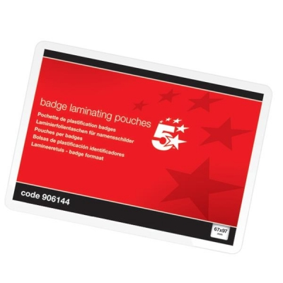 5 Star Laminating Pouches 250 Micron for Badge size [67x97mm] Gloss [Pack 100]