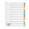 5 Star Maxi Index Extra-wide 150gsm Card with Coloured Mylar Tabs 10-Part A4 White