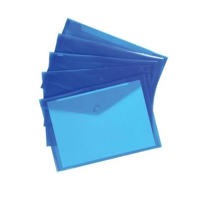 5 Star Envelope Wallet Polypropylene A4 W235mmxD335mm Translucent Blue [Pack 5]