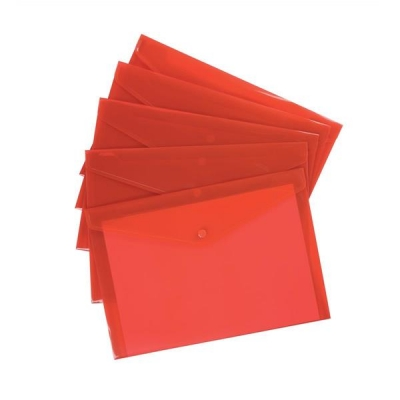 5 Star Envelope Wallet Polypropylene A4 W235mmxD335mm Translucent Red [Pack 5]