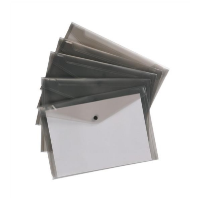 5 Star Envelope Wallet Polypropylene A4 W235mmxD335mm Translucent Smoke [Pack 5]