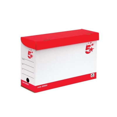 5 Star Transfer Case Hinged Lid Foolscap Red and White [Pack 20]