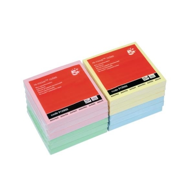 5 Star Re-Move Notes Repositionable Pastel Pad of 100 Sheets 76x76mm Assorted Ref [Pack 12]