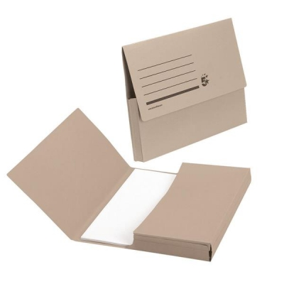 5 Star Document Wallet Half Flap 285gsm Capacity 32mm A4 Buff [Pack 50]