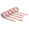Printed Tape Quarantine Polypropylene 50mm x 66m Red on White [Pack 6]