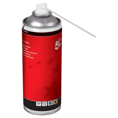5 Star Spray Duster Can HFC Free Compressed Gas Flammable 400ml [Pack 4]