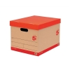 5 Star Storage Box for 5 A4 Lever Arch Files Red on Brown [Pack 10]