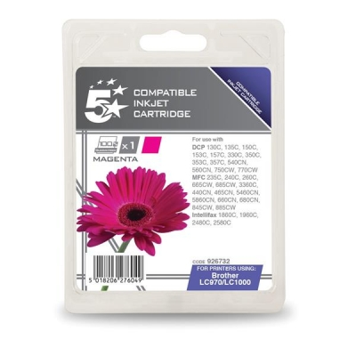 5 Star Compatible Inkjet Cartridge Page Life 400pp Magenta [Brother LC1000M Alternative]