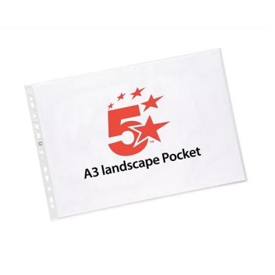 5 Star Punched Pocket Polypropylene Top-opening Landscape A3 Ref 4899L10 [Pack 25]