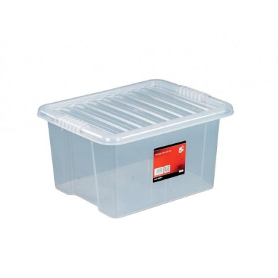 5 Star Storage Box Plastic with Lid Stackable 35 Litre Clear Ref 12455