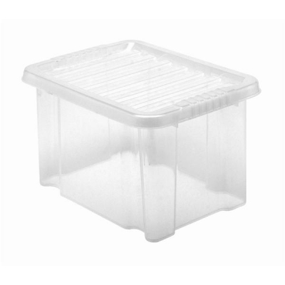5 Star Storage Box Plastic with Lid Stackable 24 Litre Clear Ref 12450