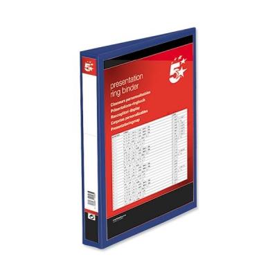 5 Star Presentation Ring Binder PVC 4 D-Ring 25mm Size A4 Blue [Pack 10]