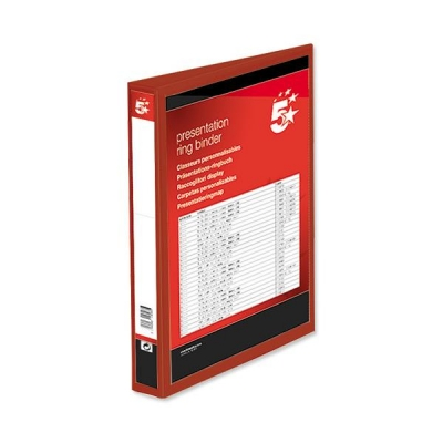 5 Star Presentation Ring Binder PVC 4 D-Ring 38mm Size A4 Red [Pack 10]