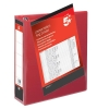 5 Star Presentation Ring Binder PVC 4 D-Ring 65mm Size A4 Red [Pack 10]