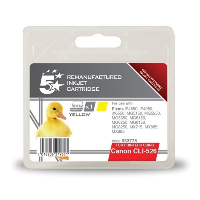 5 Star Compatible Inkjet Cartridge Page Life 545pp Yellow [Canon CLI-526Y Alternative]