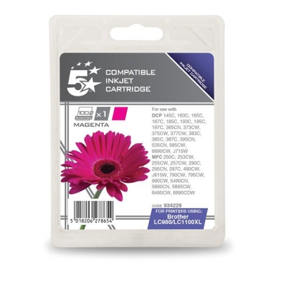 5 Star Compatible Inkjet Cartridge Page Life 750pp Magenta [Brother LC1100HYM Alternative]