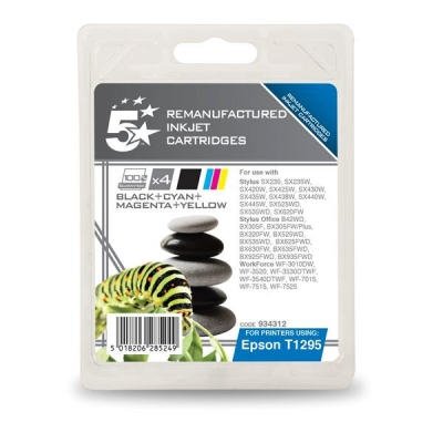 5 Star Compatible Inkjet Cartridges Black/Cyan/Magenta/Yellow [Epson T12954010 Alternative] [Pack 4]