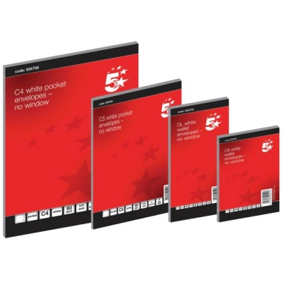 5 Star Envelopes Wallet Press Seal 80gsm White DL Retail Pack [Pack 50]