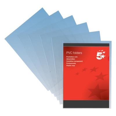 5 Star Elite Folder PVC Cut Flush A4 Clear [Pack 50]
