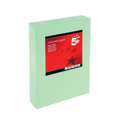 5 Star Coloured Copier Paper Multifunctional Ream-Wrapped 80gsm A4 Medium Green [500 Sheets]