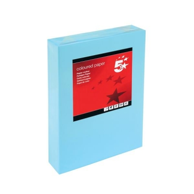 5 Star Coloured Copier Paper Multifunctional Ream-Wrapped 80gsm A4 Medium Blue [500 Sheets]