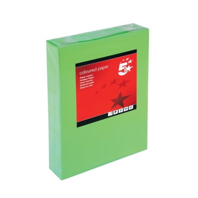 5 Star Coloured Copier Paper Multifunctional Ream-Wrapped 80gsm A4 Deep Green [500 Sheets]