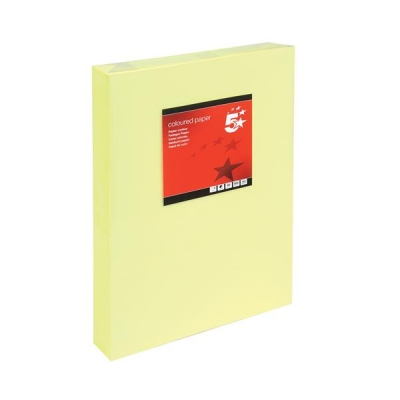 5 Star Coloured Copier Paper Multifunctional Ream-Wrapped 80gsm A3 Light Yellow [500 Sheets]