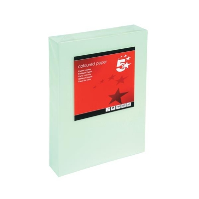 5 Star Coloured Card Multifunctional 160gsm A4 Light Green [250 Sheets]
