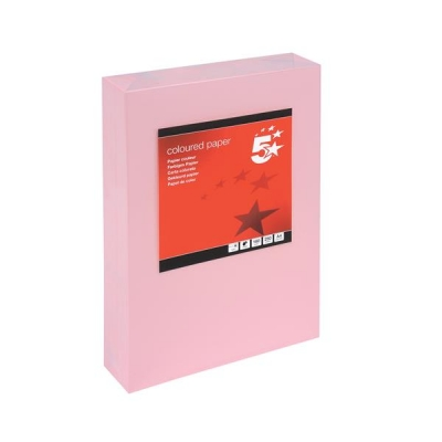 5 Star Coloured Card Multifunctional 160gsm A4 Light Pink [250 Sheets]