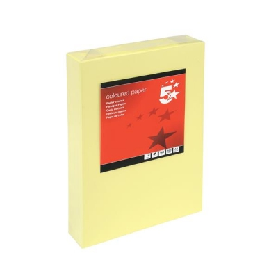 5 Star Coloured Card Multifunctional 160gsm A4 Light Yellow [250 Sheets]