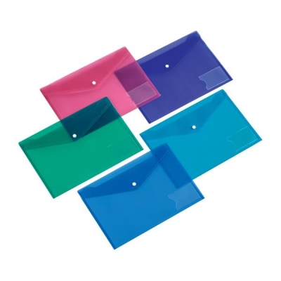 5 Star Office Filing Pocket Polypropylene Press Stud Closure Foolscap Assorted [Pack 5]