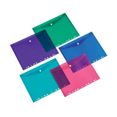 5 Star Office Punched Filing Pockets Assorted (Blue, Green, Red, Purple & Transparent) [Pack 5]