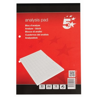 5 Star Analysis Pad Accounting 80gsm 10 Column 53 Weeks A4 White