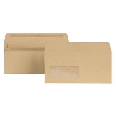 New Guardian Envelopes Lightweight Wallet Press Seal Window 80gsm Manilla DL [Pack 1000]