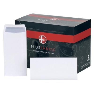 Plus Fabric Envelopes Pocket Press Seal 110gsm DL 220x110mm White [Pack 500]