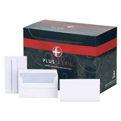 Plus Fabric Envelopes Wallet Press Seal 110gsm 89x152mm White [Pack 500]