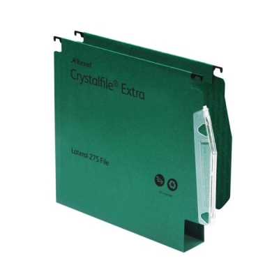 Rexel Crystalfile Extra Lateral File Polypropylene W275mm 50mm Base Green Ref 71763 [Pack 25]