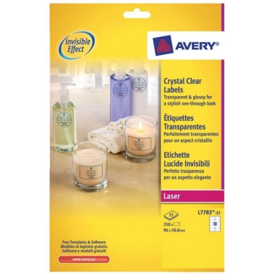 avery crystal clear label 10 per sheet 96x50 8mm ref l7783 25 250