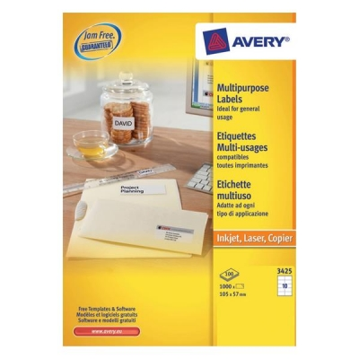 avery white copier labels 10 per sheet 105x57mm white ref 3425 1000